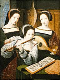 tableau ancien avec trois musiciennes